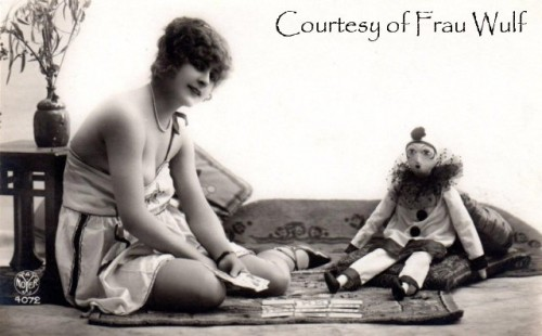 French postcard with Pierrot boudoir doll.JPG